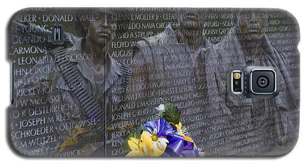 Vietnam Veteran Wall And Three Soldiers Memorial Collage Washington Dc_2 Galaxy S5 Case by David Zanzinger