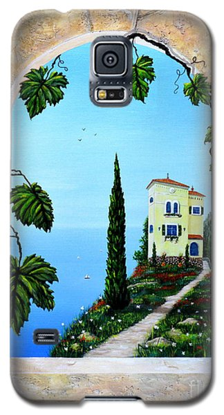 Galaxy S5 Case featuring the painting Villa By The Sea by Mary Scott