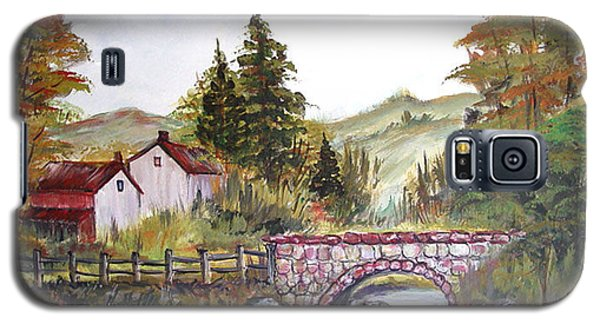 Galaxy S5 Case featuring the painting Village Bridge by Dorothy Maier