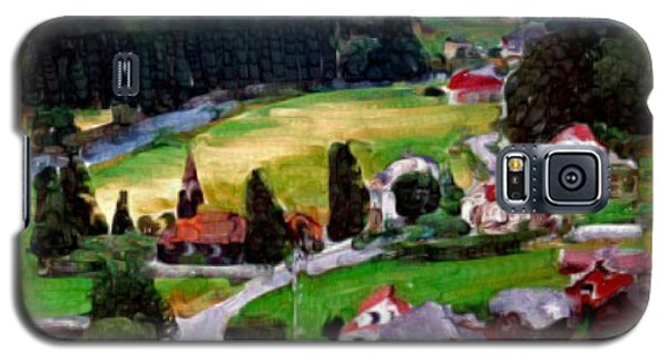 Galaxy S5 Case featuring the painting Village In The Mountains by Bruce Nutting