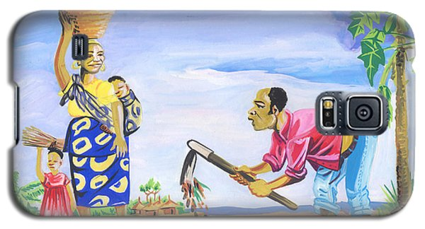 Galaxy S5 Case featuring the painting Village Life In Cameroon 01 by Emmanuel Baliyanga