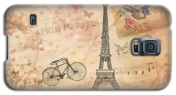 Vintage Bicycle And Eiffel Tower Galaxy S5 Case by Peggy Collins