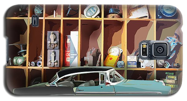 Galaxy S5 Case featuring the digital art Vintage Chevy Belair With Retro Auto Parts by John Fish