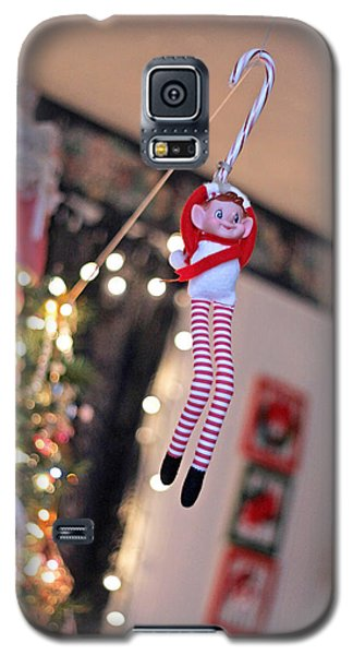 Galaxy S5 Case featuring the photograph Vintage Christmas Elf Zipline by Barbara West