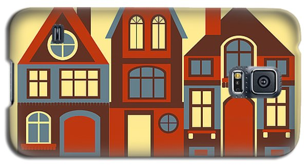 Town Galaxy S5 Case - Vintage City Houses On Yellow Background by Okhristy