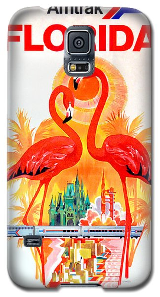 Flamingo Galaxy S5 Case - Vintage Florida Amtrak Travel Poster by Jon Neidert