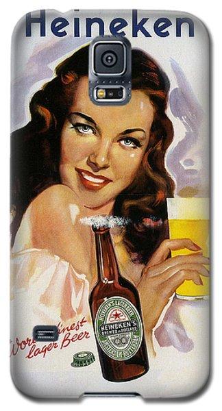 Galaxy S5 Case featuring the digital art Vintage Heineken Beer Ad by Allen Beilschmidt