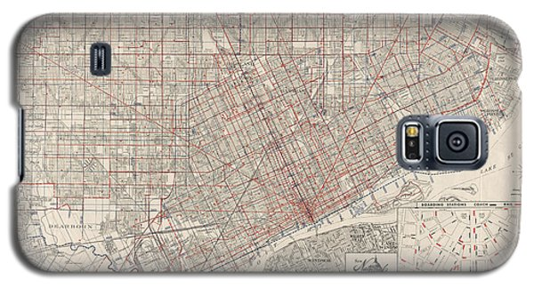 Vintage Map Of Detroit Michigan From 1947 Galaxy S5 Case by Blue Monocle