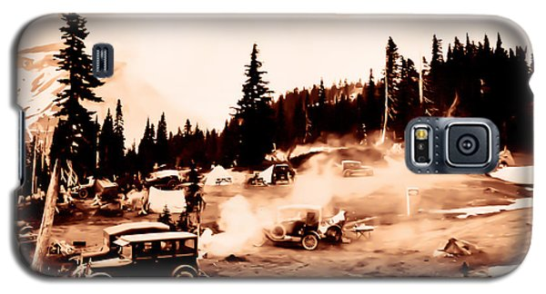 Galaxy S5 Case featuring the photograph Vintage Mount Rainier Cars And Camp Grounds Early 1900 Era... by Eddie Eastwood