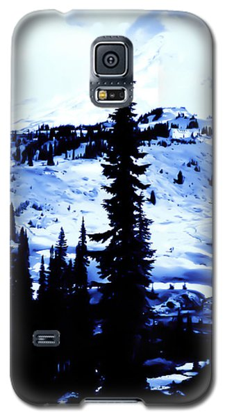 Galaxy S5 Case featuring the photograph Vintage Mount Rainier With Camp Grounds In The Distance Early 1900 Era... by Eddie Eastwood