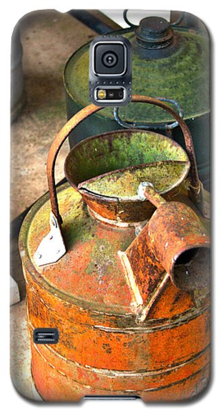 Galaxy S5 Case featuring the photograph Vintage Orange And Green Galvanized Containers by Lesa Fine