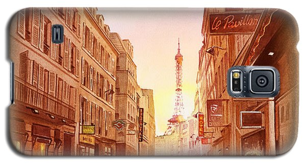 Galaxy S5 Case featuring the painting Vintage Paris Street Eiffel Tower View by Irina Sztukowski