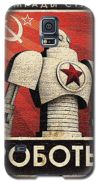 Vintage Russian Robot Poster Galaxy S5 Case by R Muirhead Art