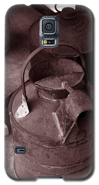 Galaxy S5 Case featuring the photograph Vintage Sepia Galvanized Container by Lesa Fine