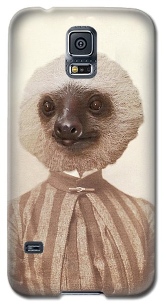 Vintage Sloth Girl Portrait Galaxy S5 Case by Brooke T Ryan