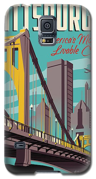 Architecture Galaxy S5 Case - Vintage Style Pittsburgh Travel Poster by Jim Zahniser