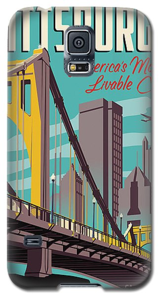 City Scenes Galaxy S5 Case - Pittsburgh Poster - Vintage Travel Bridges by Jim Zahniser
