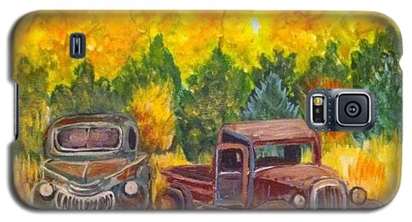 Galaxy S5 Case featuring the painting Vintage Trucks by Belinda Lawson