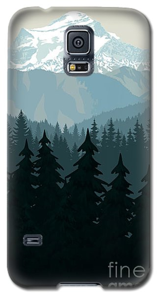 Icy Galaxy S5 Case - Vintage Vector Mountains Forest by Savejungle