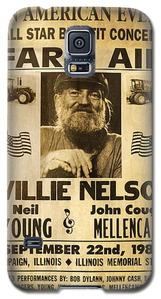 Neil Young Galaxy S5 Case - Vintage Willie Nelson 1985 Farm Aid Poster by John Stephens
