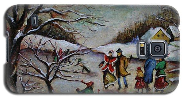 Vintage Winter Scene/skating Away Galaxy S5 Case by Melinda Saminski