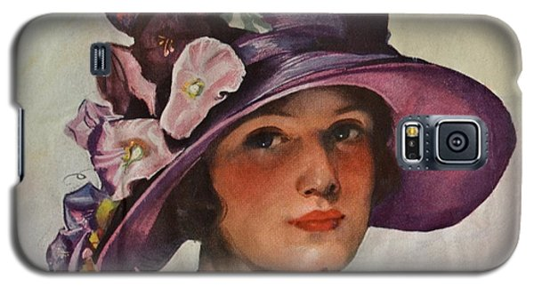 Vintage Woman In Floral Hat Galaxy S5 Case