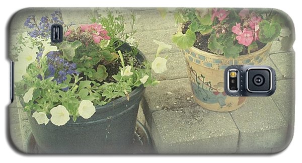 Galaxy S5 Case featuring the photograph Vintage Worn Flower Pots by Margaret Newcomb