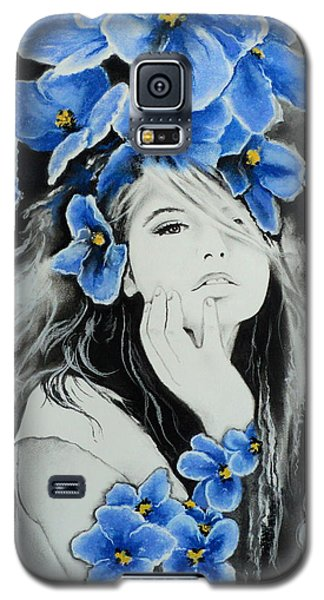 Galaxy S5 Case featuring the drawing Violet by Carla Carson