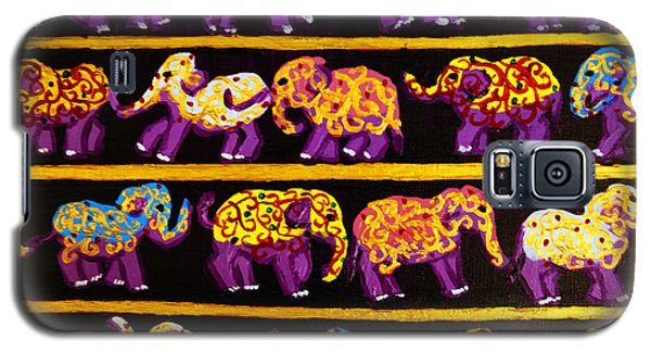 Galaxy S5 Case featuring the painting Violet Elephants by Cassandra Buckley