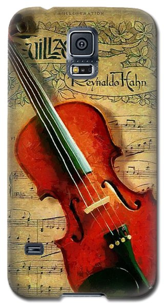 Galaxy S5 Case featuring the painting Violin And Notes by Kai Saarto