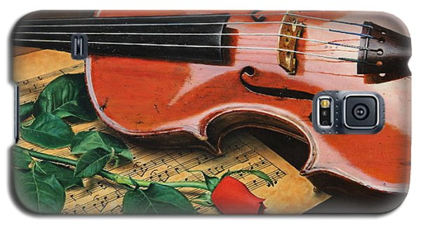 Galaxy S5 Case featuring the painting Violin And Rose by Glenn Beasley