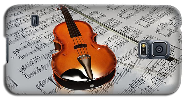 Violin On Sheet Music Backdrop With Clouds Reflecting Galaxy S5 Case by Bruce Rolff