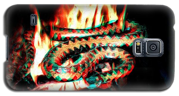 Galaxy S5 Case featuring the digital art Viper In Flames - 3d Anaglyph by Daniel Janda