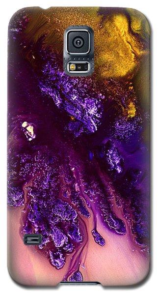 Vivid Abstract Art Purple Fugitive-gold Tones Fluid Painting By Kredart Galaxy S5 Case