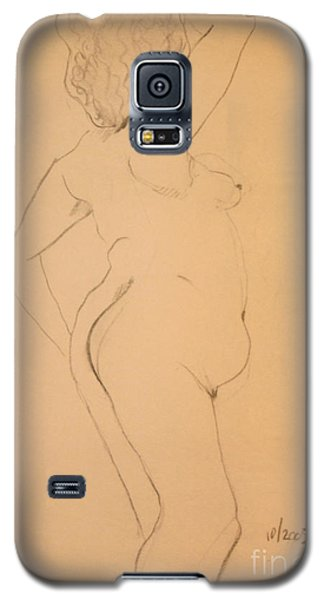 Galaxy S5 Case featuring the drawing Voluptuous Nude by Gabrielle Schertz