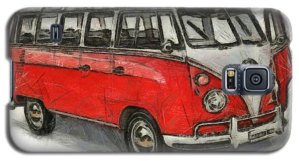 Galaxy S5 Case featuring the painting Vw Van - Red Art Print by Georgi Dimitrov