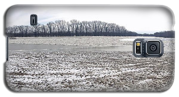 Galaxy S5 Case featuring the photograph Wabash River Ice Jam Panorama by Tony Mathews