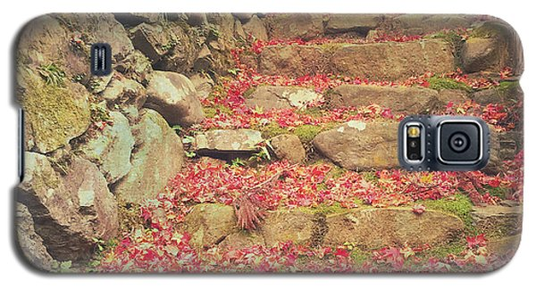 Wabi-sabi Rubble Masonry Bamboo Fence Fallen Leaves Galaxy S5 Case