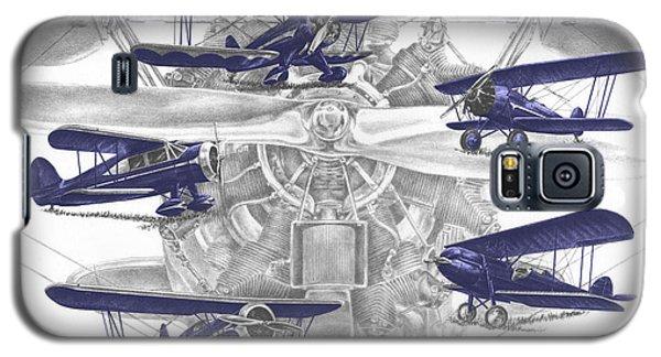 Wacos - Vintage Biplane Aviation Art With Color Galaxy S5 Case