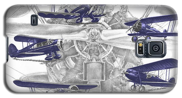 Wacos - Vintage Biplane Aviation Art With Color Galaxy S5 Case