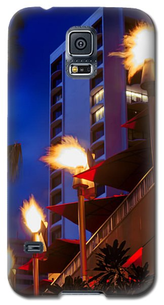 Galaxy S5 Case featuring the photograph Waikiki Tiki Torches by Aloha Art