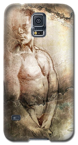 Galaxy S5 Case featuring the drawing Waiting With Mood Texture by Paul Davenport