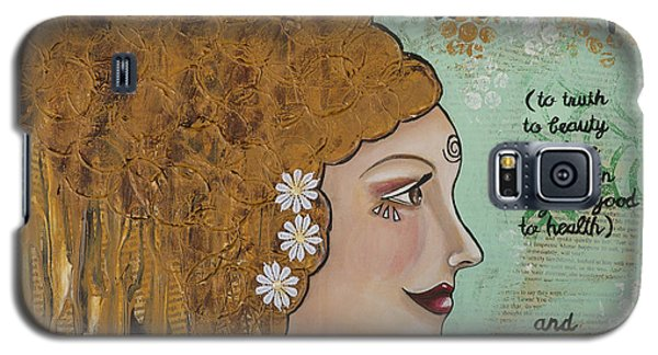 Wake Up Inspirational Mixed Media Folk Art Galaxy S5 Case