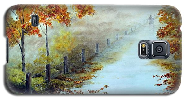 Galaxy S5 Case featuring the painting Walking In The Mist by Anna-maria Dickinson