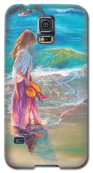 Galaxy S5 Case featuring the painting Walking In The Waves by Karen Kennedy Chatham