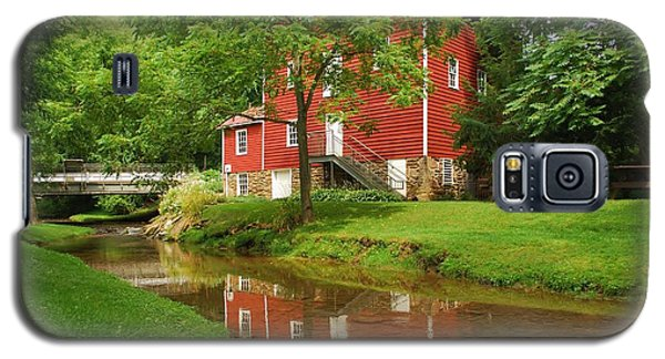 Galaxy S5 Case featuring the photograph Wallace Cross Grist Mill Reflections by Bob Sample