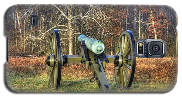 Galaxy S5 Case featuring the photograph War Thunder - 1st New York Light Artillery-a1 Battery D The Wheatfield Gettysburg by Michael Mazaika