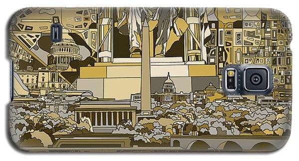Lincoln Memorial Galaxy S5 Case - Washington Dc Skyline Abstract 4 by Bekim Art