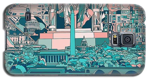 Lincoln Memorial Galaxy S5 Case - Washington Dc Skyline Abstract 5 by Bekim Art