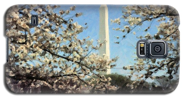 Galaxy S5 Case featuring the painting Washington Monument Cherry Blossoms by Spyder Webb